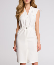 White waist-tie button dress