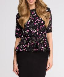 Black & pink floral short sleeve blouse