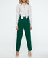 Green belted straight trousers Sale - stylove Sale