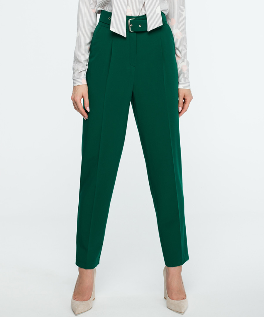 Green belted straight trousers Sale - stylove