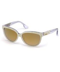 Gold-tone & brown lens sunglasses