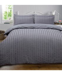 Seersucker charcoal king duvet set