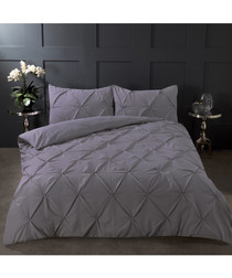 Pintuck charcoal single duvet set