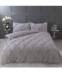 Pintuck silver super king duvet set