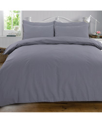 Plain cotton grey king duvet set