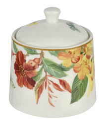 Floral porcelain sugar pot