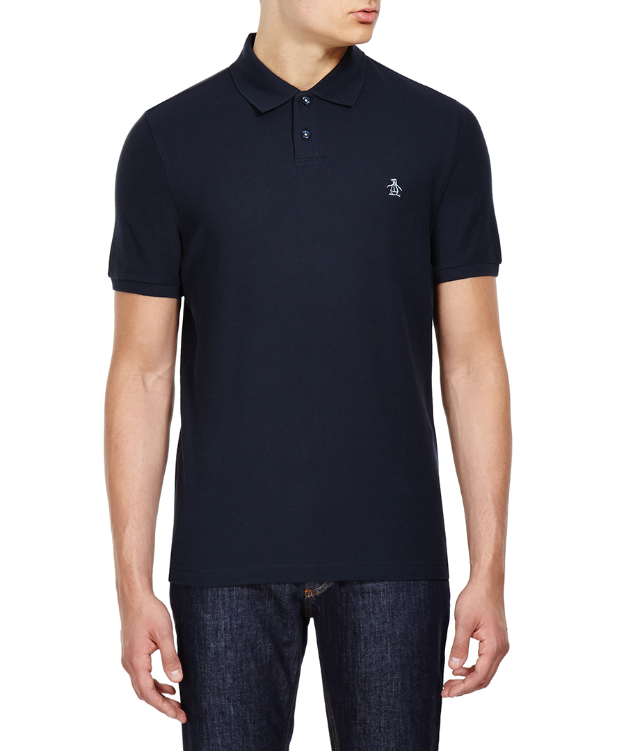 Discount rounded collar polo shirt in navy secretsales for Cheap polo collar shirts