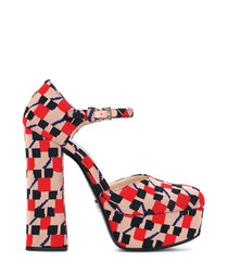 Pink & red tile canvas platform heels