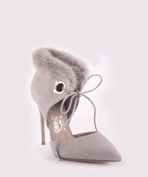 Francesca suede & fur trim heels