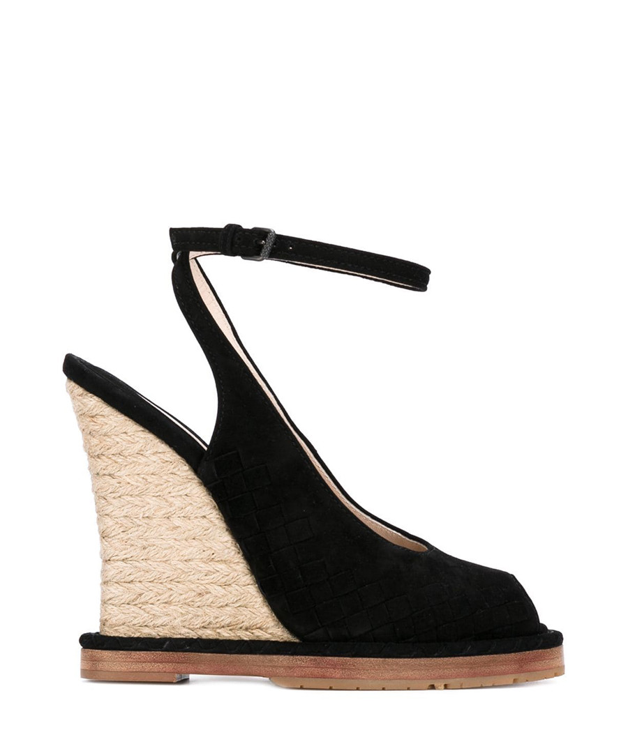 Black suede & jute peep-toe wedges Sale - bottega veneta