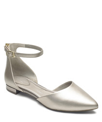Adelyn 2 silver leather ballet pumps