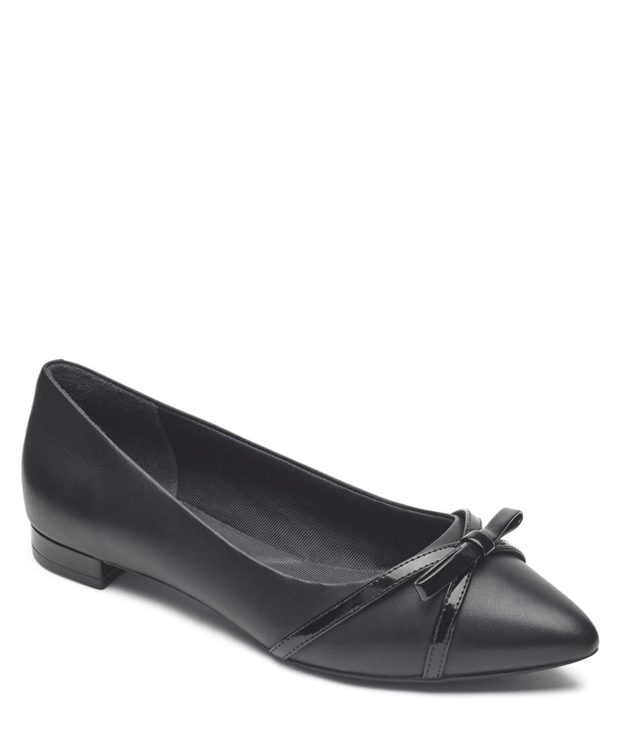 Adelyn black leather bow ballet pumps Sale - rockport