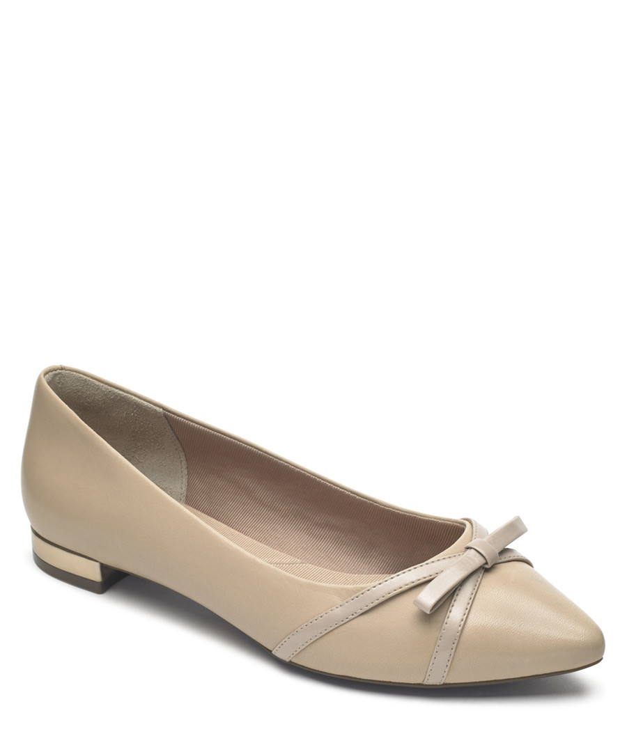 Adelyn beige leather bow ballet pumps Sale - rockport
