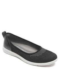 Ayva black knit slip-on pumps