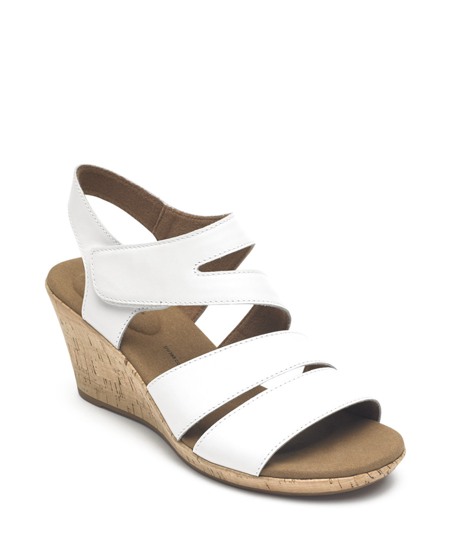 Briah white & tan leather sandals Sale - rockport