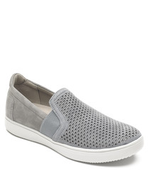Ariell grey perforated slip-on pumps