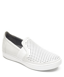 Ariell white perforated slip-on pumps