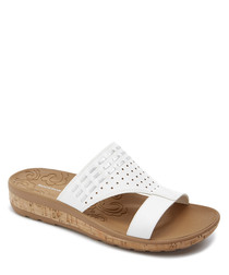 Keona white & tan leather sandals