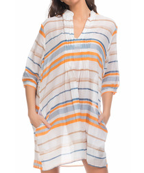 Orange stripe mini shift dress