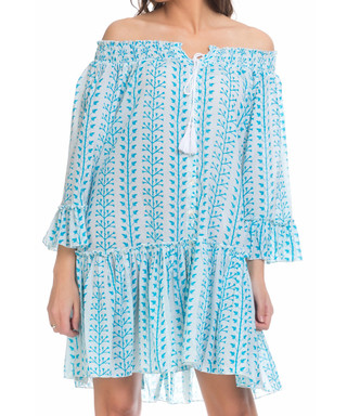 0402de32fab Blue off-the-shoulder tassel dress Sale - tantra Sale