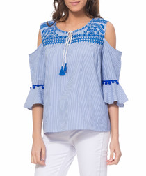 Blue cold-shoulder tassel blouse