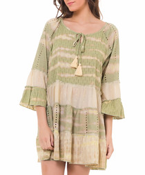 Khaki block tiered shift dress