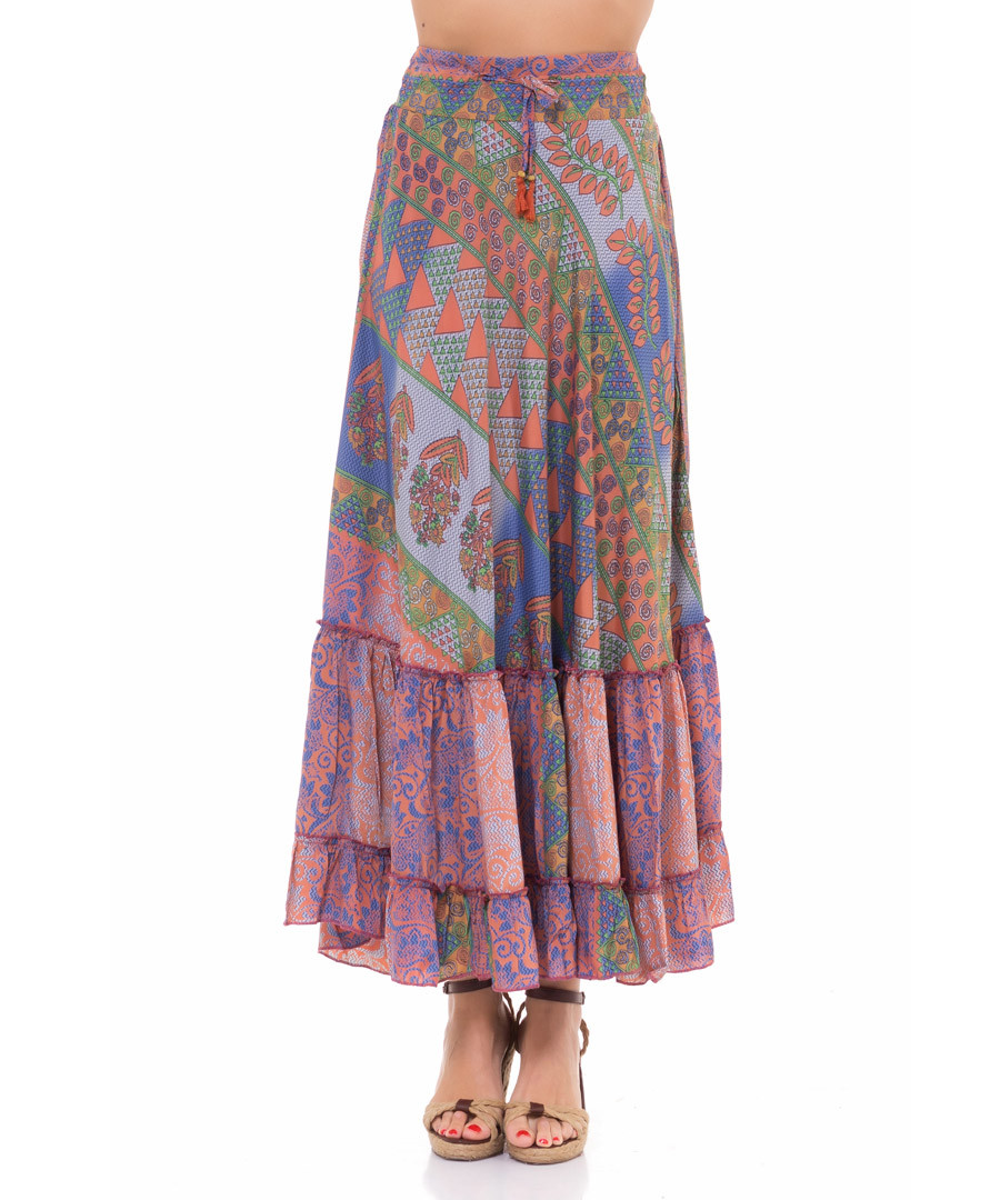 Multi-colour pure silk gypsy skirt Sale - tantra
