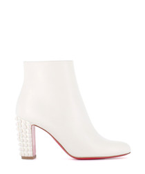 Suzi Folk 85 white spiked ankle boots