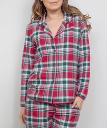 Holly red check pyjama top