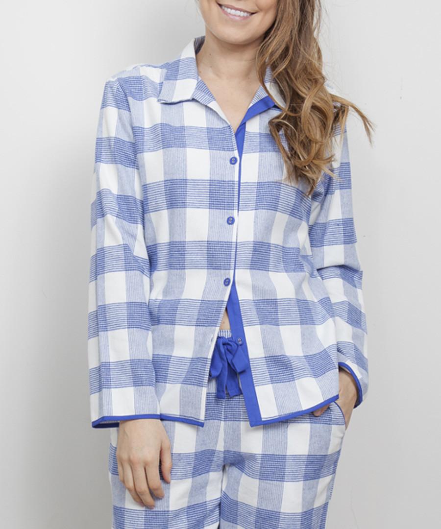 Elisa blue check pyjama top Sale - cyberjammies