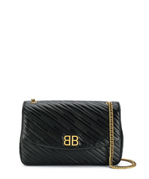 Black leather logo chain crossbody bag