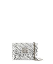 BB S silver-tone leather crossbody bag