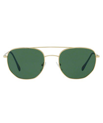 Gold-tone & green rounded sunglasses