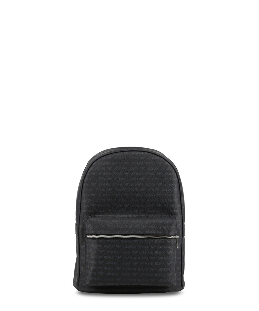 Black faux-leather logo backpack Sale - armani jeans
