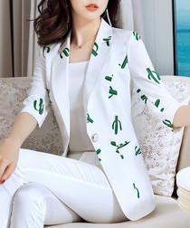 White cactus print blazer