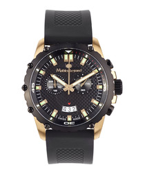 Source puissante black & gold-tone watch