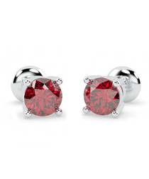 1.00ct ruby & white gold studs