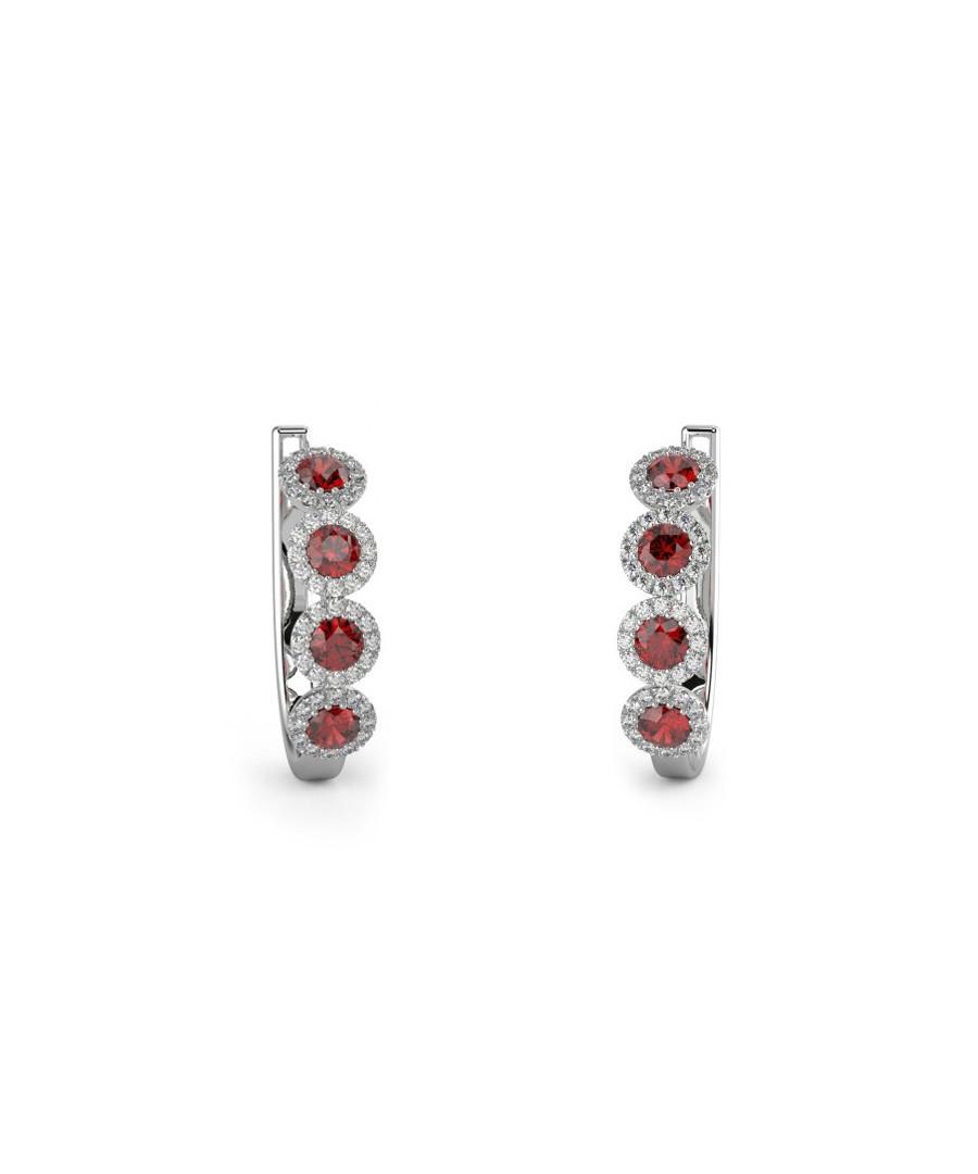 Ruby & white gold hoop earrings Sale - Buy Fine Diamonds