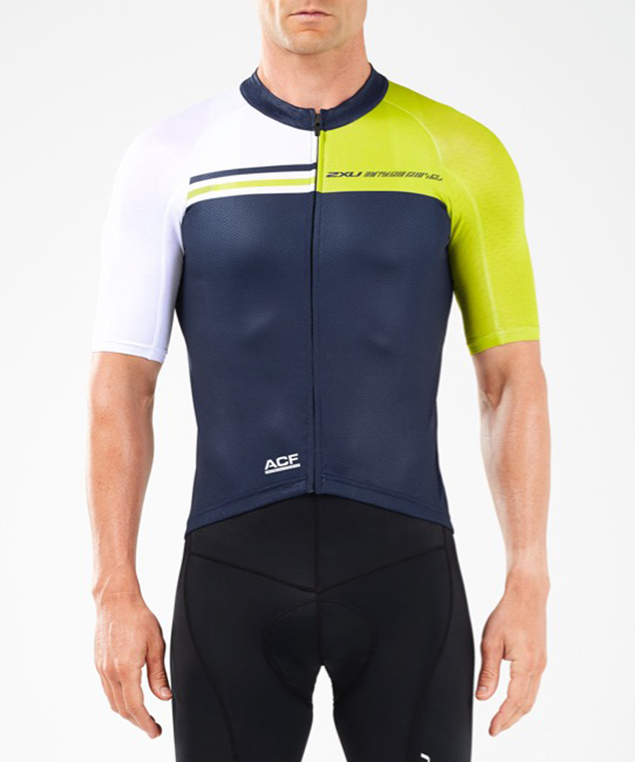 Elite navy panel cycle jersey Sale - 2XU