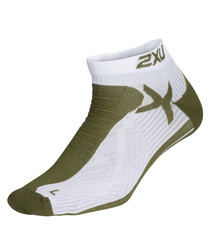 Khaki & white low rise socks