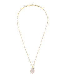 Adassa gold-plate & rose quartz necklace
