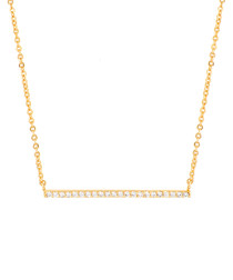 Lily gold-plate & zirconia bar necklace