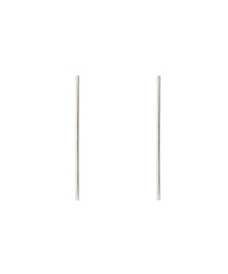 Lily white gold-plate bar earrings