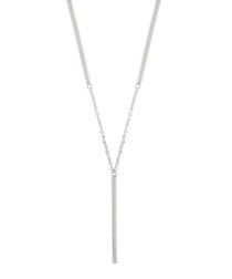 Lily white gold-plate bar necklace