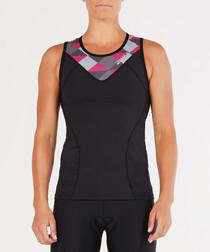 Triathlon Active black & pink geo top