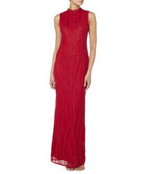 red high neck embroidered maxi dress