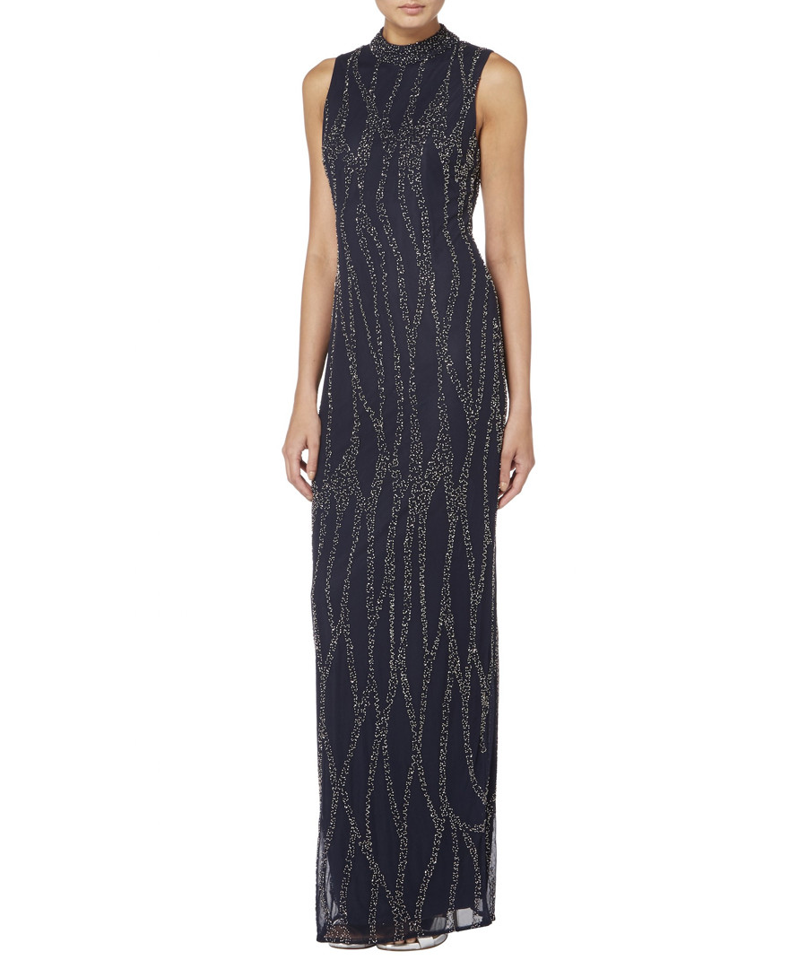 navy high neck embroidered maxi dress Sale - raishma