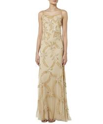 beige & gold-tone beaded maxi dress