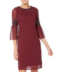 burgundy sheer sleeve dress
