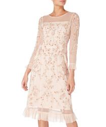 pale pink floral frilled dress
